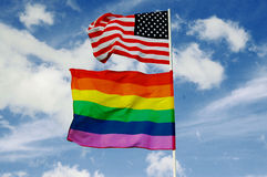 USA and GAY (rainbow) flags Stock Images