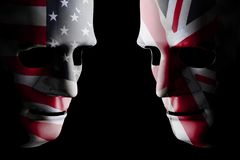 USA and GB head to head flag faces stock photos