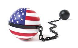 USA gebunden an einem Klotz am Bein Stockbilder
