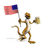USA Gecko with Beer Royalty Free Stock Photos