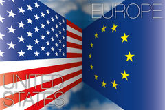 USA gegen Europa-Flaggen Lizenzfreies Stockbild