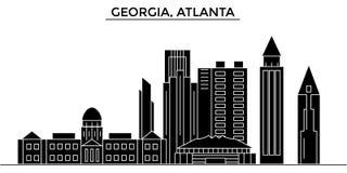 Usa, Georgia, Atlanta architecture vector city skyline, travel cityscape with landmarks, buildings, isolated sights on. Usa, Georgia, Atlanta architecture vector Stock Photos