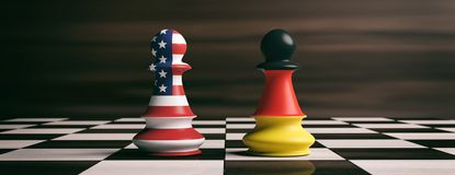 USA and Germany flags on chess pawns on a chessboard. 3d illustration. USA and Germany cooperation concept. US America and Germany flags on chess pawns soldiers Stock Photo