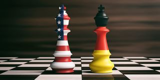 USA and Germany flags on chess kings. 3d illustration. USA and Germany cooperation concept. US America and Germany flags on chess kings on a chess board, brown Royalty Free Stock Photography