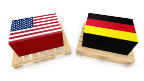 USA Germany transport boxes. Two palettes , one american style with an american box and a eu standard wooden palette with german box 3D illustration Royalty Free Stock Photography