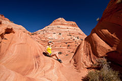 USA - girl in the Coyote buttes recreational park - The wave Stock Image