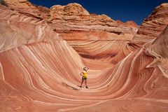 USA - girl in the Coyote buttes recreational park - The wave Stock Images