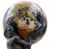 USA Globe. Atlas holding America's weight - Reflections on a semi-precious stones globe Royalty Free Stock Photos