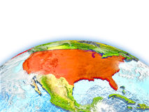 USA on globe. Country of USA on model of Earth. 3D illustration. Elements of this image furnished by NASA Stock Photos