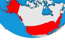 USA on globe. USA on 3D model of political globe. 3D illustration Royalty Free Stock Photos
