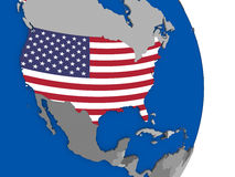 USA on globe with flag Stock Photo