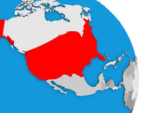 USA on globe. USA highlighted in red on simple globe with visible country borders. 3D illustration Stock Photo