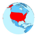 USA on globe isolated. USA in red on simple political globe with clearly visible country borders. 3D illustration isolated on white background Stock Photos