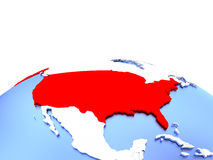USA on globe. USA in red color on simple elegant political globe. 3D illustration Royalty Free Stock Image
