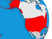 USA on globe. USA in red on model of political globe. 3D illustration Royalty Free Stock Images
