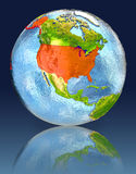 USA on globe with reflection. Illustration with detailed planet surface. Elements of this image furnished by NASA Royalty Free Stock Image