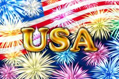 USA gold balloons Happy independence day on 4 july american flag. vector firework art. USA gold balloons Happy independence day on 4 july american flag. vector Royalty Free Stock Images