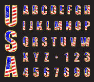 USA Gold Font. USA Stars and Stripes flag gold font. Letters and numbers vector Royalty Free Stock Photography