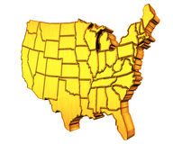 USA gold map 3D Royalty Free Stock Photos