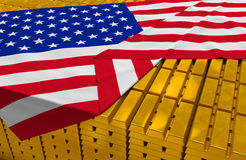 USA gold reserve stock. (creative concept): golden bars (ingots, bullions) are covered with american flag in the storage (treasury) as symbol of national gold Stock Photography