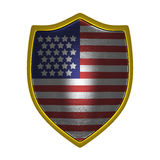 USA gold shield front lit. USA gold shield side lit isolated on Stock Photo