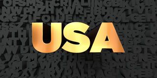 Usa - Gold text on black background - 3D rendered royalty free stock picture Stock Photo