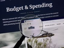 USA Government home page. MONTREAL, CANADA - APRIL 24, 2019 : USA White House Government Budget and Spending home page under magnifying glass. Whitehouse.gov is stock photo