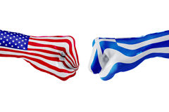 USA and Greece flag. Concept fight, business competition, conflict or sporting events Stock Photos