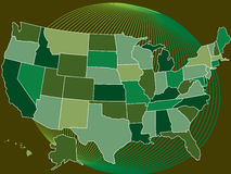 Usa green map with globe Royalty Free Stock Photography
