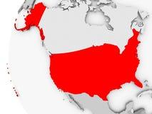 USA on grey globe. USA highlighted on grey 3D model of political globe. 3D illustration Royalty Free Stock Photo