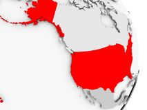 USA on grey political globe. USA highlighted in red on grey political globe. 3D illustration Royalty Free Stock Images
