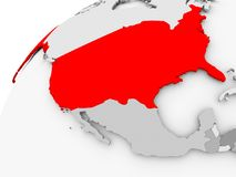 USA on grey political globe. Map of USA in red on grey political globe. 3D illustration Stock Photography