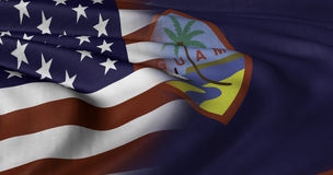 USA and Guam Flag. 3D illustration of USA and Guam flag fluttering in strong wind Royalty Free Stock Photography