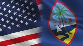 Usa Guam Realistic Half Flags Together vector illustration