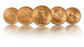 USA guldmyntar det indiska huvudet tjugo dollar för den dubbla örnen som isoleras på vit bakgrund royaltyfria bilder
