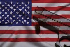 USA Gun Laws flag with pistol gun and bullet Stock Image
