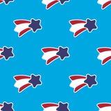 USA gwiazdy i lampasa bezszwowy wzór na błękitnym tle ilustracja wektor
