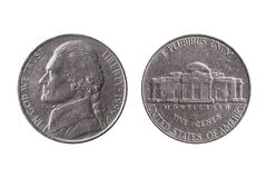 USA half dime nickel coin 25 cents with a portrait image of Thomas Jefferson. Obverse and Montecello reverse cut out and isolated on a white background royalty free stock photos