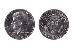 USA half dollar nickel coin 50 cents dated 1989 with an image of President John Kennedy stock image