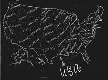 USA Hand Drawn Map 01 A. USA hand drawn map. Editable vector illustration. Geographical concept in plain funny style on a textured dark grey blackboard Stock Photos
