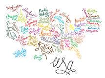 USA Hand Drawn Map 02 A-06 royalty free illustration