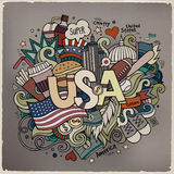 USA hand lettering and doodles elements background Royalty Free Stock Photos