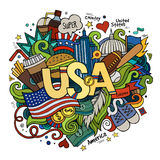 USA hand lettering and doodles elements background Royalty Free Stock Images