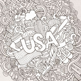 USA hand lettering and doodles elements background Royalty Free Stock Photography
