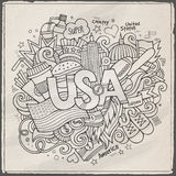 USA hand lettering and doodles elements background. Vector illustration Royalty Free Stock Photography