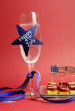 USA Happy Fourth 4th of July champagne and food - vertical. Stock Image