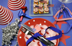 USA Happy Fourth 4th of July party table setting Royalty Free Stock Image