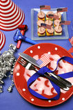 USA Happy Fourth 4th of July party table setting - vertical. Royalty Free Stock Images