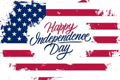 USA Happy Independence Day celebrate banner with United States national flag brush stroke background and lettering text design. USA Happy Independence Day vector illustration