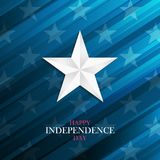 USA Happy Independence Day greeting card with silver star on blue background. 4th of july national holiday. royalty free illustration